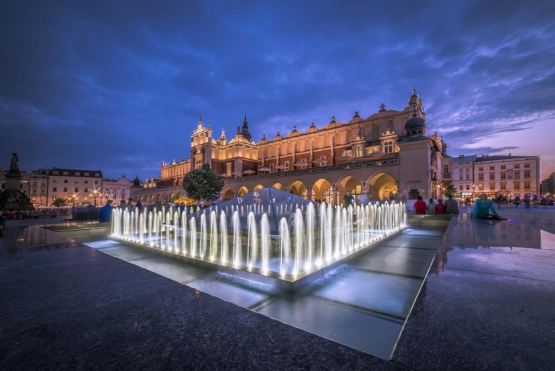 Illuminated fountain, Market Square, Krakow, Poland